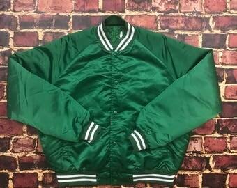 Vintage 80s Satin Bomber Jacket Satin Jacket Varsity Jacket Bomber Jacket Mens Large in Green Football Varsity Baseball Varsity