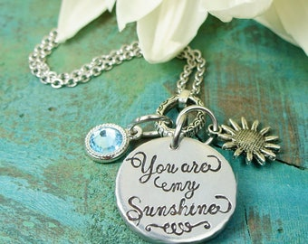 You are my sunshine necklace, granddaughter gift, for granddaughter charm, long distance relationship, sentimental gift for wife, meaningful