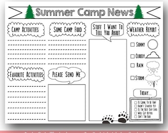PRINTABLE Camp Stationary / Kids Summer Camp / Printable Summer Camp Stationary /Fill in Camp Letter Printable / Instant Download