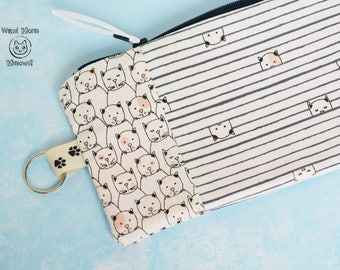Cat pouch, Cat lover gift, Pencil case, Make up bag, Crazy cat lady, Striped phone case, Zipper pouch, Cute cats pouch, Striped pouch