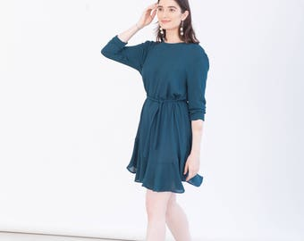 Teal green party dress - Sustainable womens clothing