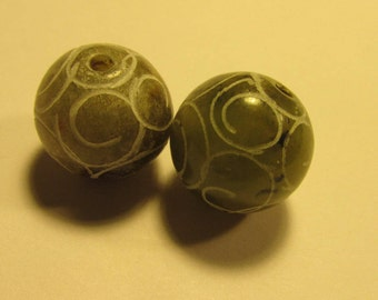 Etched Jade Ball Beads, 14mm, Set of 2