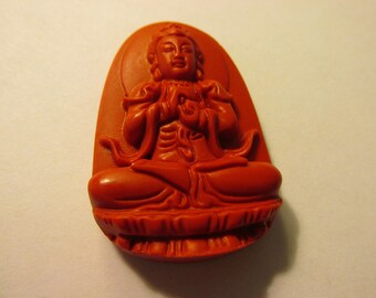 """Carved Red Cinnabar Pendant of Buddha Sitting in Lotus , 1 7/8"""""""