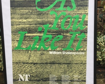 Vintage National Theatre Poster for Shakespeare's As You Like It