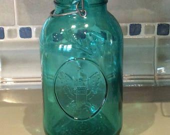 Vintage Ideal Ball American Eagle kitchen decor storage canning jar green display