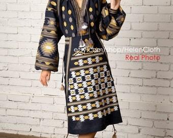 Vyshyvanka Embroidered Midi Mexican skirt Pattern skirt, Bohemian Linen skirt, Blue midi skirt, Mexican style. Free shipping