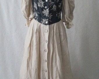 Vintage German black folk steampunk dress Size 16