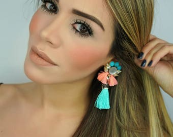 TurquoiseEarrings, Colorful Earrings,Fringe Earrings,Bridal Jewelry,Threader Earrings,Wedding Earrings, Tassel Earrings,Rhinestone Earrings
