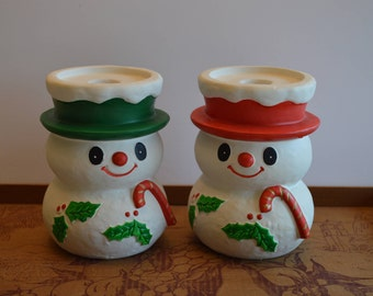 Two Big Snowmen Candleholders