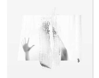 Shower Scene | digital collage art print | Sensual woman photography | grey minimal artwork | modern poster | Scandinavian minimalist art