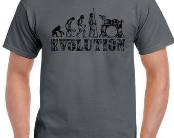 Drum Evolution Mens Funny Drumming T-Shirt Drums Cymbals Kit Sticks Drummer 1730
