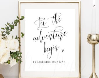 Let the adventure begin, sign our map. Printable sign, wedding map guestbook, guest book map. world guestbook, guest book sign, #PPSB48
