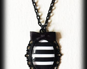 Black and White Striped Necklace, Gothic Victorian Steampunk Pendant, Beetlejuice Cameo, Handmade Jewelry, Gothic Jewelry