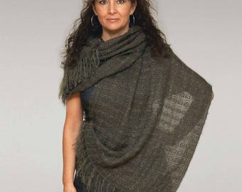 Handwoven shawl, large scarf in green mohair and grey tencel. Handwoven pashmina wrap. Large grey scarf.