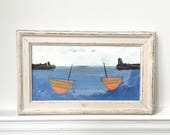 Nautical abstract painting Boats and Buoys Newlyn Cornish vintage art