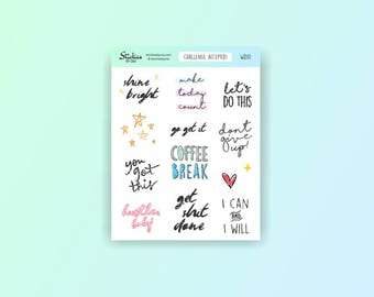 Motivational Stickers / planner stickers, to do stickers, word stickers, hand drawn stickers, fun stickers, to do list / WD10