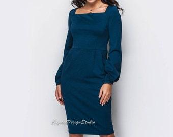 S-3XL Elegant Jersey dress casual wear Midi dress Beige Office dress long sleeve Casual women's dress Dark blue Knee Day dress Burgundy