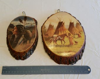 2 antique wooden indian decoupage wall hanging plaques - fort pipestone mn  native american wood pictures art teepee elk photos chief rustic