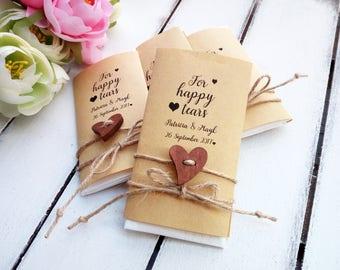 Happy tears wedding favors, Tears of joy packs, Personalized wedding ceremony tissue, Rustic wedding decor, Custom favours