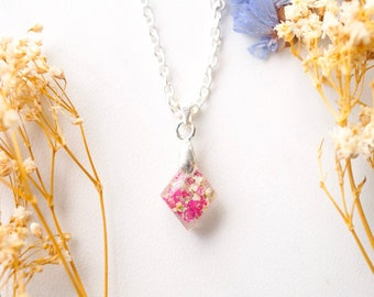 Real Dried Flowers in Diamond Resin Necklace in Pinks and White