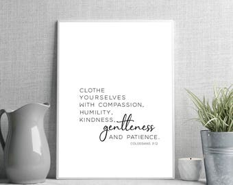 Bible verse Printable, Colossians 3:12, Clothe Yourselves With Compassion, Bible Verse art print, Christian wall art, Scripture Printable