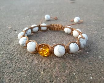 Shamballa bracelet Protective Yoga jewelry White Howlite Citrine bracelet White Shamballa Healing bracelet Woman Yoga gift Energy bracelet