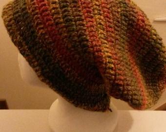 Chunky crochet dreadlocks hat/tam in autumn browns.