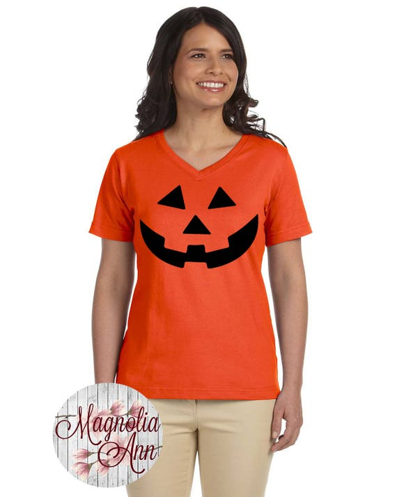 Carved Pumpkin, Halloween,Women's Premium Jersey V-Neck T-shirt in Sizes Small-4X, Plus Size, Curvy, Lots of Colors