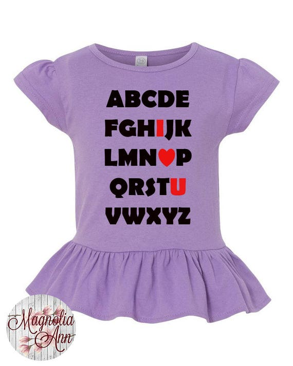Alphabet I Love You Toddler Valentines Day Shirt, Girl Valentines Shirt, Little Girls Ruffle Tee, Ruffled Shirt for Girls, Valentines Girl