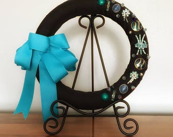 Turquoise Wall Hanging, Turquoise Wall Art, Turquoise Wall Decor, Hanging Display, Wall Hanging Wreath, Turquoise Home Decor, Upcycled