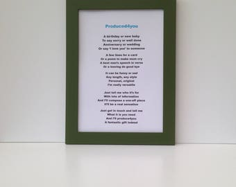 Bespoke poetry gift, Customised poem with choice of coloured frames or printed on a scroll. Original and personal present for any occasion