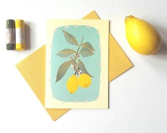 Botanical Lemon's Card-Botanical Note-Let Card-Lemon Card-Botanical Art Card-Illustrated Art Card-Botanical Card-Exotic Fruit Card