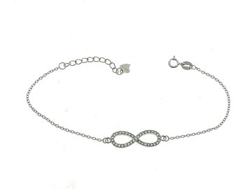 Belcher bracelet with central infinity zirconate 925 sterling silver plated white gold hypoallergenic adjustable length 18 to 20 cm