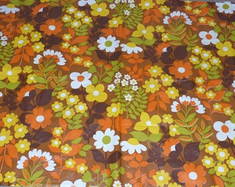 Old oilcloth retro flowers orange tablecloth vintage waxed canvas retro flowers orange vintage tablecloth 70 year Old 70 year