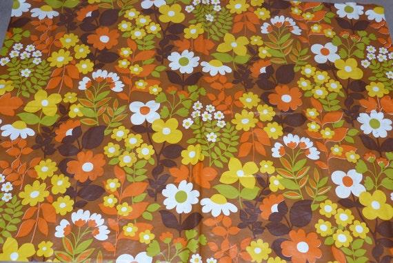 ancienne toile cir e r tro fleurs orange nappe vintage ann e. Black Bedroom Furniture Sets. Home Design Ideas