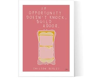 Door Quote Poster / Motivational Wall Art / Office Decor Print / Victorian Door Illustration /  Printable / Instant Download / 2JPEG Files