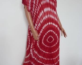 Vintage Red Tie Dye Kaftan Caftan White Hippy Hippie Boho Ethnic Cotton Folk Tribal Loose Fit Batik Braid