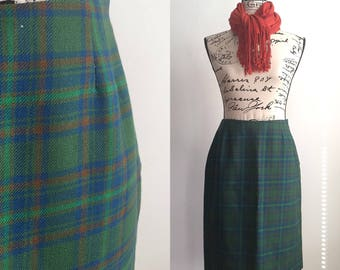 Vintage Wool Plaid Pencil Skirt, Vintage Pencil Skirt