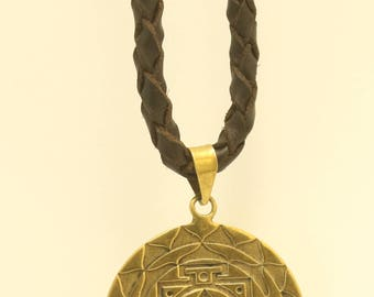 LEATHER NECKLACE with brass Sri Yantra pendant