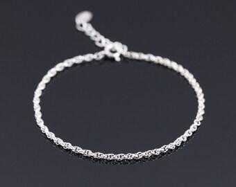 Ultra Thin Silver Bracelet, Sterling Silver Bracelet, Silver Chain Bracelet, Delicate Silver Bracelet, Dainty Silver Bracelet,Silver Jewelry