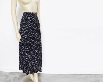 Navy Skirt, UK12, Grunge Skirt, Vintage Clothing, Ditsy Print Skirt, Maxi Skirt, Vintage Skirt, Peasant Skirt, Hippy Skirt, Boho Skirt