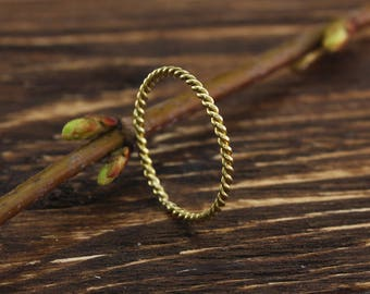 Tiny twist ring, Dainty ring, 14k yellow gold twist ring, Gold stacking ring, Simple twisted band, Twist wedding ring, Gift for daughter