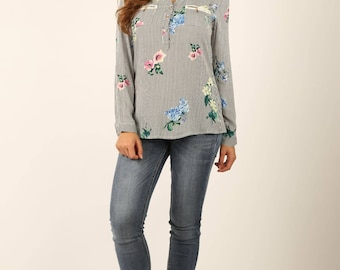 Women's Striped Long Sleeve Blouse With Floral Print