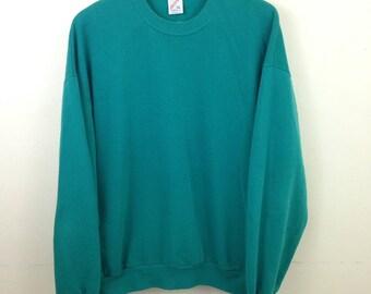 Vintage 50/50 Blank Sea Green Sweatshirt - Size XL - Made in USA - Jerzees