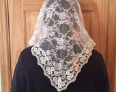 Standard Adult Handmade Catholic Chapel Veil/Mantilla: White Floral Lace with Embroidered Trim in Triangle Style