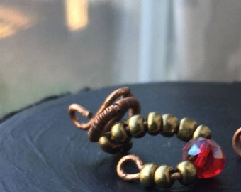 Hair Jewelry - Gold and Red Hair Jewelry - Loc Jewelry - Artisan Hair Jewelry - Jewelry for Locs, Braids and Twists