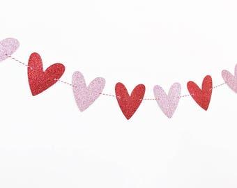 Fesselnd Valentineu0027s Day Garland / Glitter Heart Garland / Valentineu0027s Day  Decorations / Valentineu0027s Day Banner /