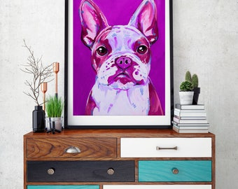 French bulldog, French bulldog art, French bulldog print, Frenchie, Frenchie wall art,  Frenchie decor, Frenchie gift, Pink dog art