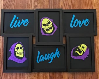 Live Laugh Love Skeletor Glitter Text Photo Picture Wall Hang Wall Decor Masters of the Universe He-Man 80s Cartoon 5 x 7
