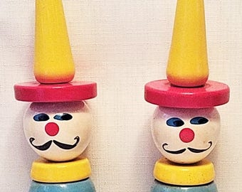 1950's Ring Toss Clowns - Vintage, Made in France - Ring Toss Game